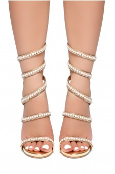 HerStyle PEARL PERFECTION-Pearl embellished spiral heeled sandals(RoseGold)
