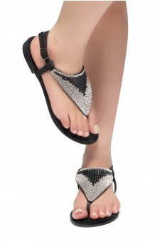 HerStyle PERFECT DAY-Open Toe Rhinestone Thong Flat Sandal (Black)