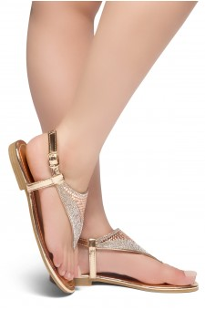 HerStyle PERFECT DAY-Open Toe Rhinestone Thong Flat Sandal (RoseGold)