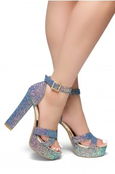 HerStyle PLAY DATE-Glitter with platform sandals (Blue Glitter)