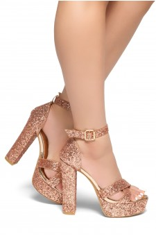HerStyle PLAY DATE-Glitter with platform sandals (RoseGold Glitter)