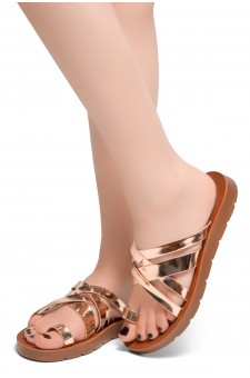 HerStyle Possible-Toe Ring with Unique Crisscross Straps Slide Sandals (RoseGold)