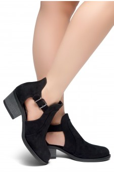 HerStyle Prisila-Stacked Heel Almond Toe Booties (Black)