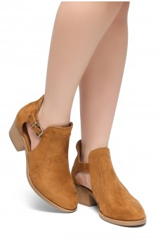 HerStyle Prisila-Stacked Heel Almond Toe Booties (Cognac)