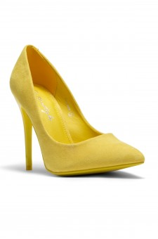 Women's Yellow Manmade Probbee 4.5-inch Classic Sueded Pump