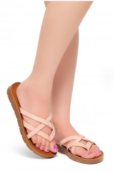 HerStyle Radiate- Unique Crisscross Straps Slide Sandals (Blush)