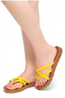 HerStyle Radiate- Unique Crisscross Straps Slide Sandals (Mustard)