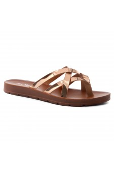 HerStyle Radiate- Unique Crisscross Straps Slide Sandals (RoseGold)