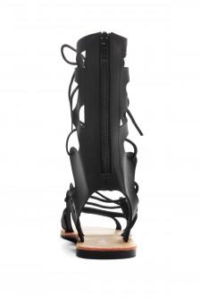 HerStyle Raelee Lace Up Gladiator Flat Sandal (Black)