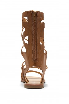 HerStyle Raelee Lace Up Gladiator Flat Sandal (Cognac)