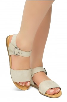 HerStyle Women's Redeem Wide Vamp Strap Wedge Sandals with Square Buckle (Khaki)