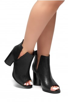 HerStyle RISE ABOVE -Peep toe, cylinder heel, v-cutout booties (Black)