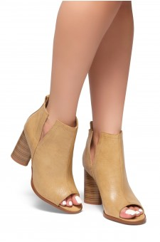 HerStyle RISE ABOVE -Peep toe, cylinder heel, v-cutout booties (Blush)