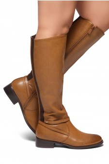 HerStyle RISKY OUTLAW-Elastane Back Panel Riding Boots (Brown)