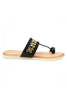 Women's Black Manmade Roebella Toe Ring Sandal with Gorgeous Beaded Strap