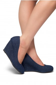 HerStyle Romy-Wedge heel, Round toe (Navy DM)
