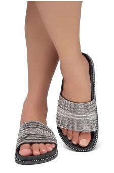 Shoe Land Ronny-Women's Fashion Rhinestone Slide Slip On Summer Sandals (BlackMulti)