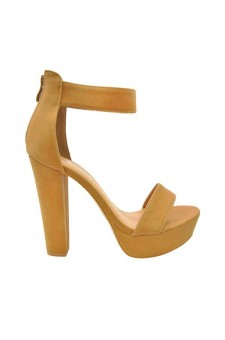 Women's Cognac Manmade Rooola 4-inch Heeled Sandal with Sueded Upper