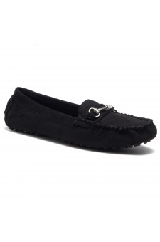 HerStyle Women's Rosalie Manmade Moccasin Flat with Metallic Accent (Black)