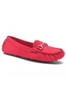 HerStyle Women's Rosalie Manmade Moccasin Flat with Metallic Accent (Fuchsia)