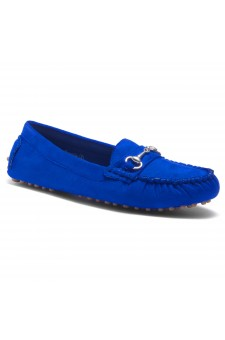 HerStyle Women's Rosalie Manmade Moccasin Flat with Metallic Accent (RoyalBlue)