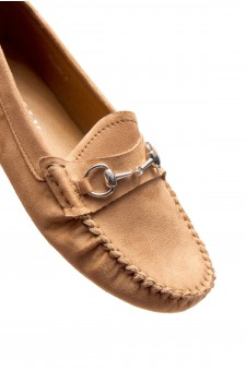 HerStyle Women's Rosalie Manmade Moccasin Flat with Metallic Accent (Tan)