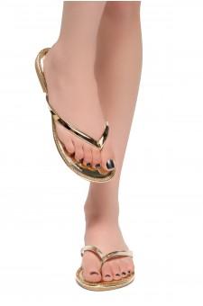 HerStyle Rosalyn-Rhinestone Details Open Toe Thong Slide Sandal (Gold)