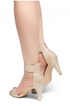 HerStyle RRose-Stiletto heel, back zipper closure (Champagne)