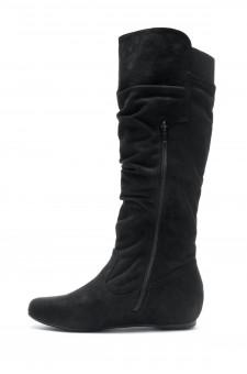 Women's Black Wide Calf Faux Suede Slouchy Hidden Wedge Boot ROSEMARRY