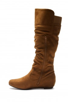 Women's Cognac Wide Calf Faux Suede Slouchy Hidden Wedge Boot ROSEMARRY