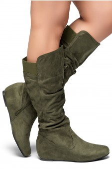 HerStyle Women's Wide Calf Faux Suede  Slouchy Hidden Wedge Boot ROSEMARRY (Olive)