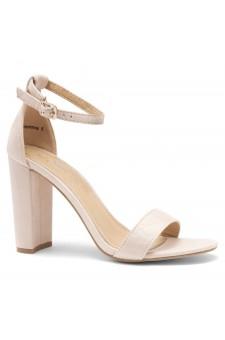 HerStyle Rosemmina Open Toe Ankle Strap Chunky Heel (Beige)