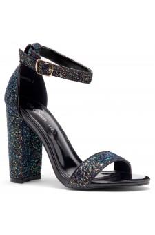 Shoe Land Rosemmina Open Toe Ankle Strap Chunky Heel (BlackGlitter)