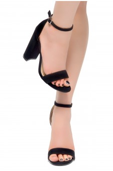 HerStyle Rosemmina Open Toe Ankle Strap Chunky Heel (Black Nubuck)