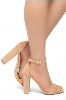 HerStyle Rosemmina Open Toe Ankle Strap Chunky Heel (Blush)