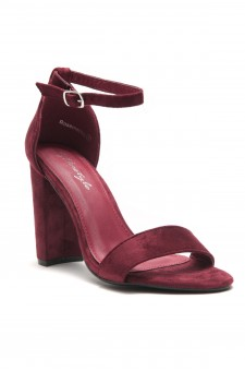 HerStyle Rosemmina Open Toe Ankle Strap Chunky Heel (Burgundy)