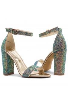 Shoe Land Rosemmina Open Toe Ankle Strap Chunky Heel (GreenMultiGlitter)