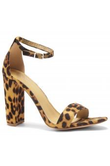 HerStyle Rosemmina Open Toe Ankle Strap Chunky Heel (Leopard)