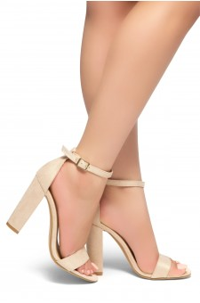 HerStyle Rosemmina Open Toe Ankle Strap Chunky Heel (Nude)