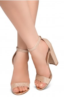 HerStyle Rosemmina Open Toe Ankle Strap Chunky Heel (RoseGold Shimmer)