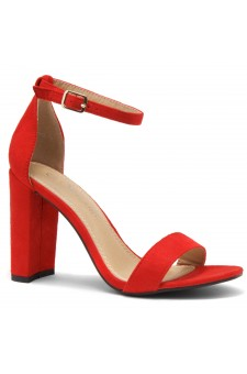 HerStyle Rosemmina Open Toe Ankle Strap Chunky Heel (Red)