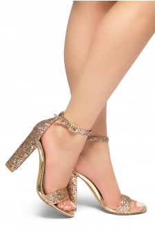 HerStyle Rosemmina Open Toe Ankle Strap Chunky Heel (RoseGoldGlitter)