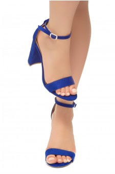 HerStyle Rosemmina Open Toe Ankle Strap Chunky Heel (Royal Blue)