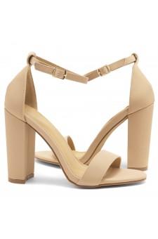 HerStyle Rosemmina Open Toe Ankle Strap Chunky Heel (Sand Nubuck)