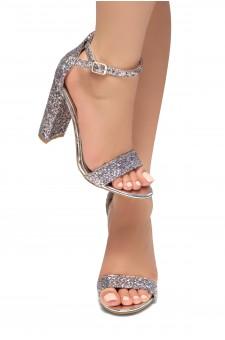 HerStyle Rosemmina Open Toe Ankle Strap Chunky Heel (SilverGlitter)