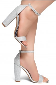HerStyle Rosemmina Open Toe Ankle Strap Chunky Heel (Silver Shimmer)