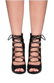 HerStyle Rosette-Peep toe, Chunky heel, Front lace-up (Black)