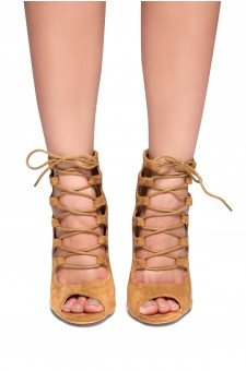 HerStyle Rosette-Peep toe, Chunky heel, Front lace-up (Tan)