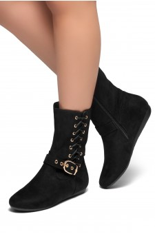 HerStyle RULE BREAKING-Round toe, stacked heel, buckle and shoe lace detail detail (Black)