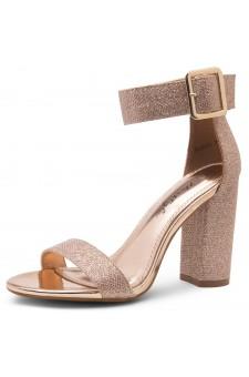 HerStyle Rumors-Chunky heel, ankle strap (1901RosegoldShimmer)